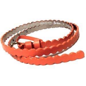 Boden Skinny Scalloped Leather Belt Orange M NWOT